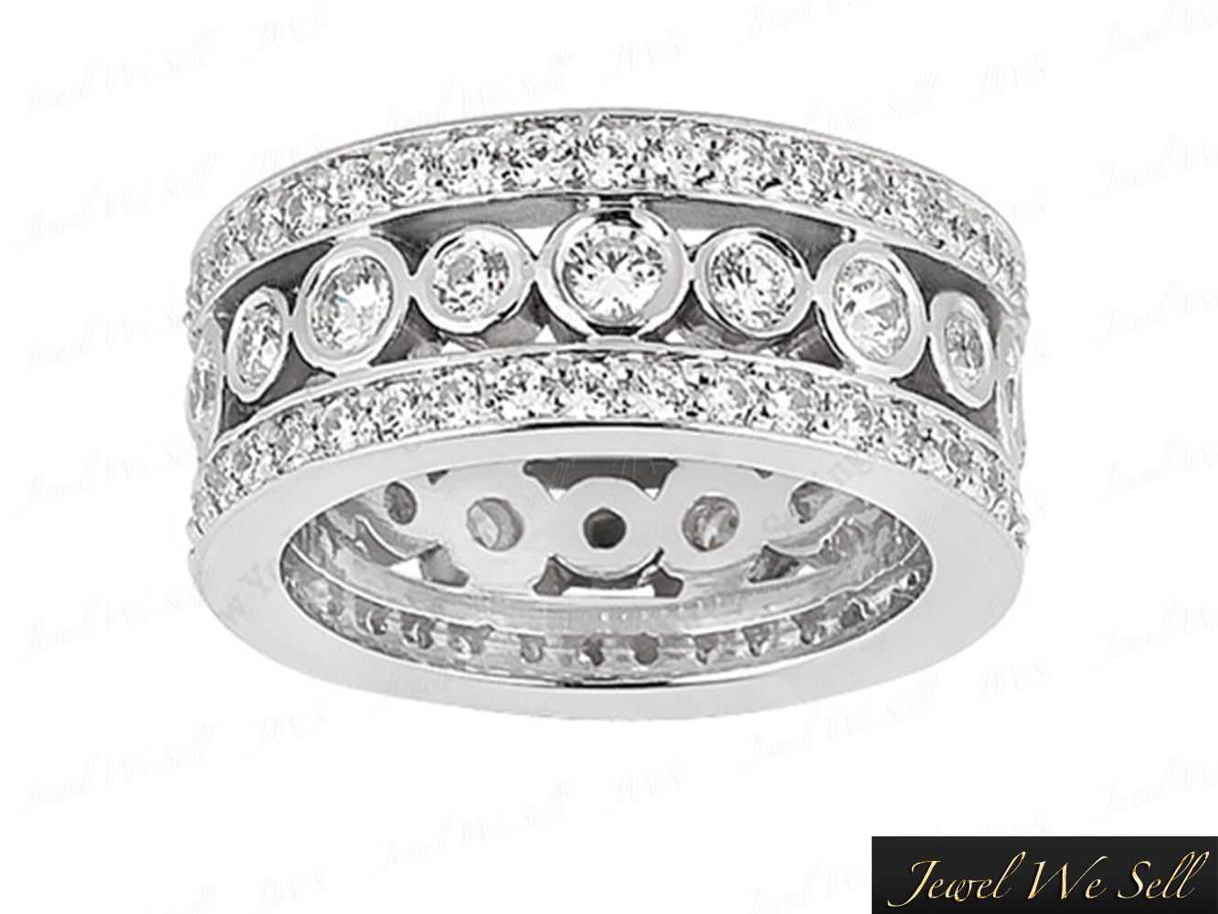 It is a picture of Details about 45.45Ct Cut 45 Row Wide Diamond Eternity Wedding Band Bridal Ring Platinum F VS45