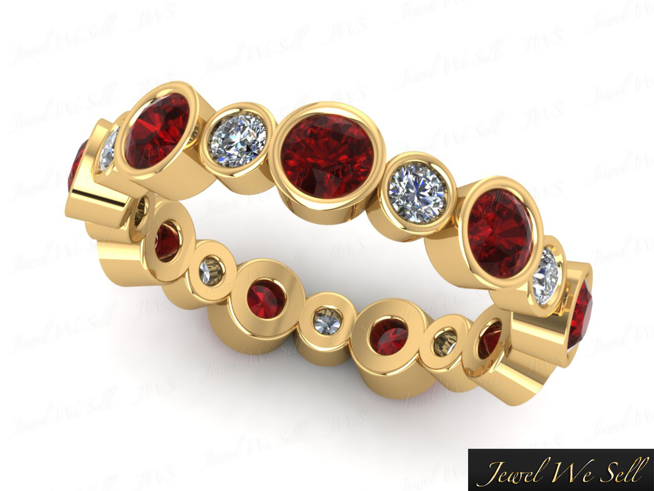 200Ct Ruby Diamond Alternating Eternity Band Ring 10k Yellow Gold