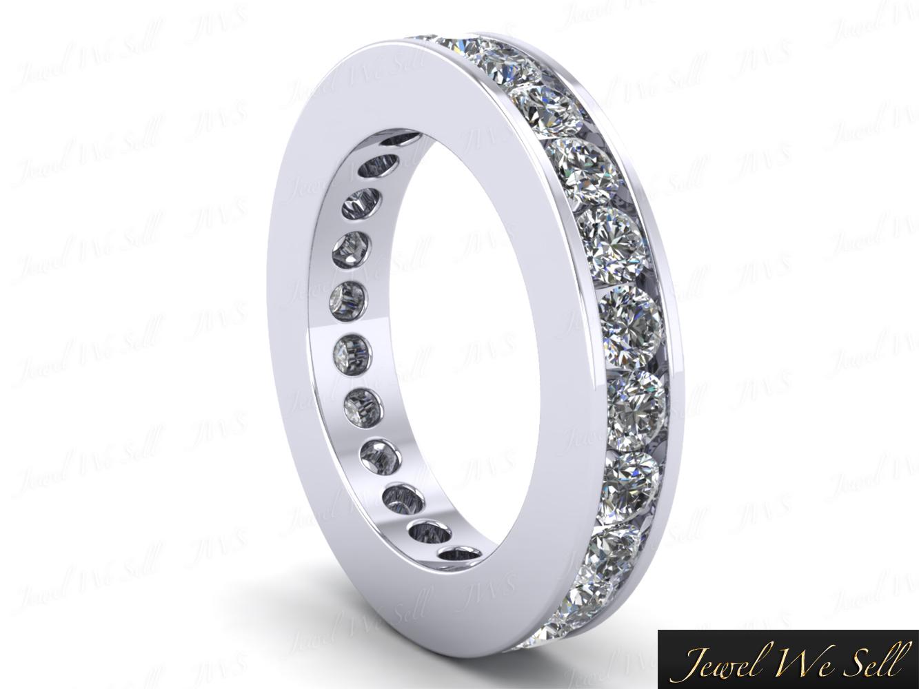 250Ct Round Diamond Classic Channel Set Eternity Wedding Ring 18K Gold F VS2