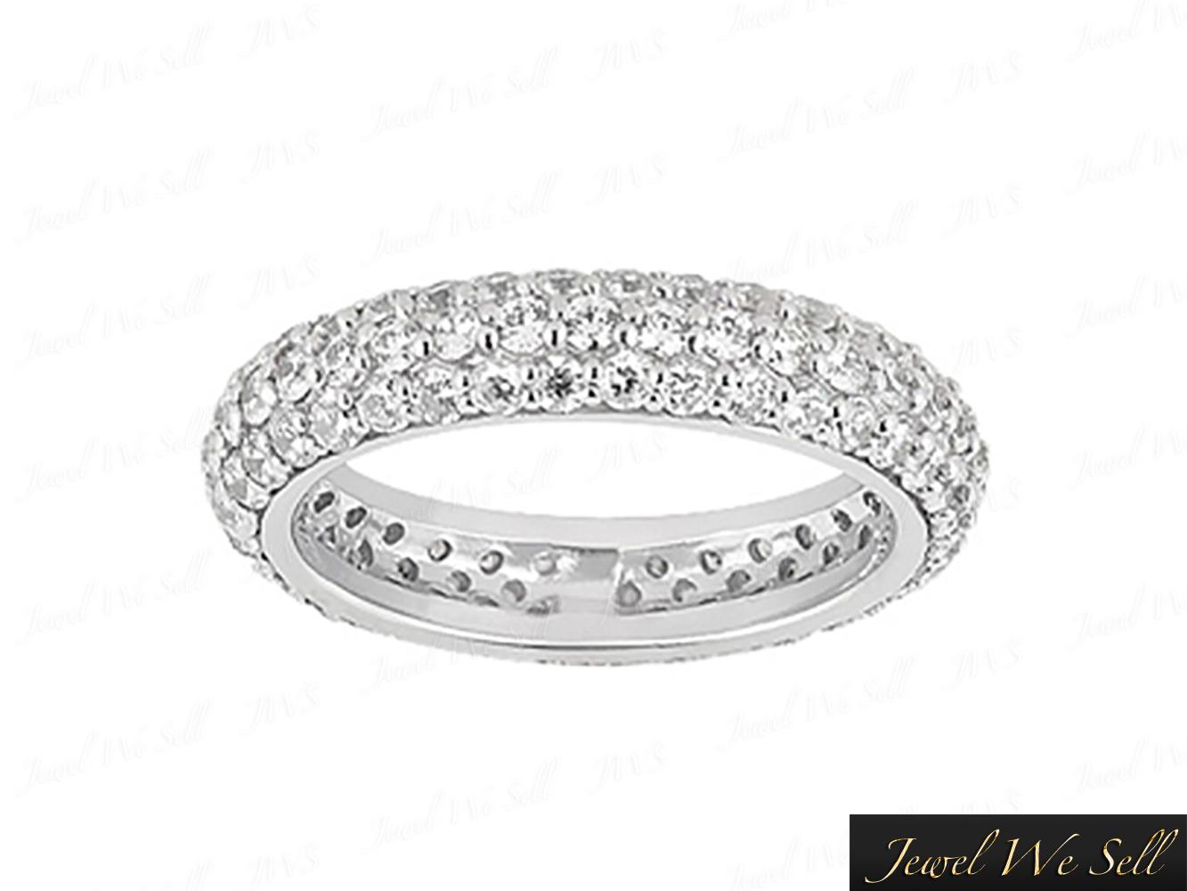 4b7b1dd6951 1.75Ct Round Cut Diamond 3 Row Pave Eternity Band Wedding Ring 14K Gold H  SI2