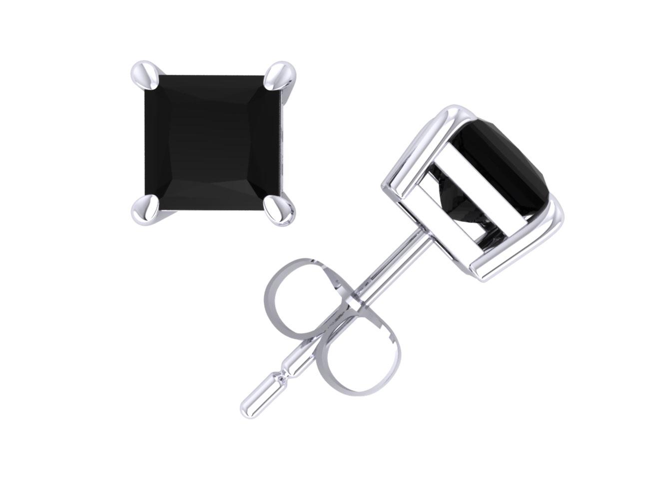 245579fee Genuine 1.00Ct Princess Cut Black Diamond Stud Earrings 18k White Gold Prong  AA