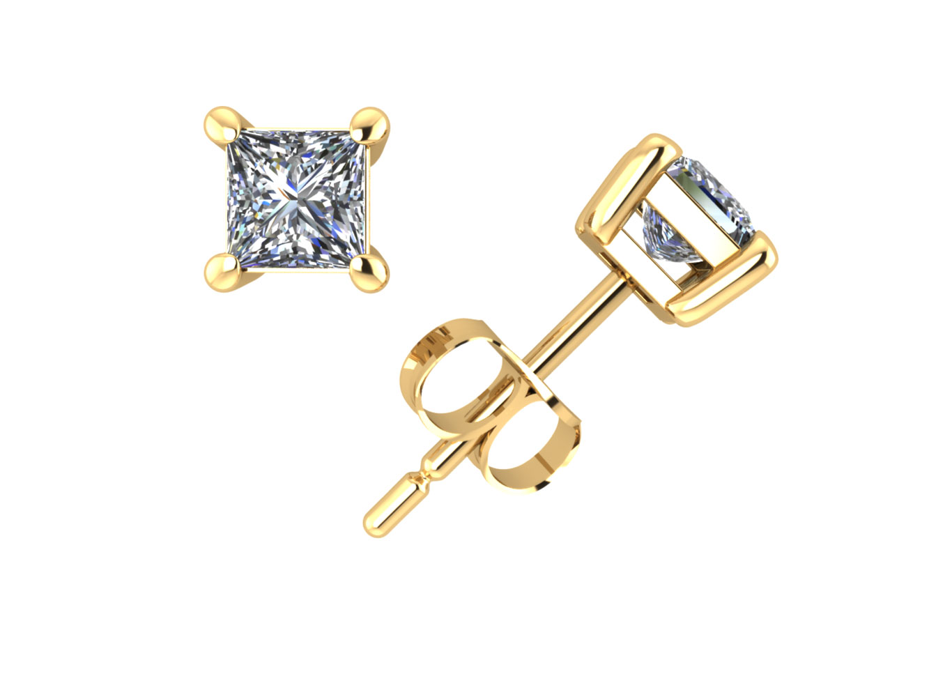 Real 0.33Ct Round Diamond Stud Earrings 14k Yellow Gold 4Prong GH I1 ScrewBack