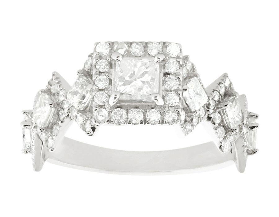 2ct princess cut halo engagement ring 14k