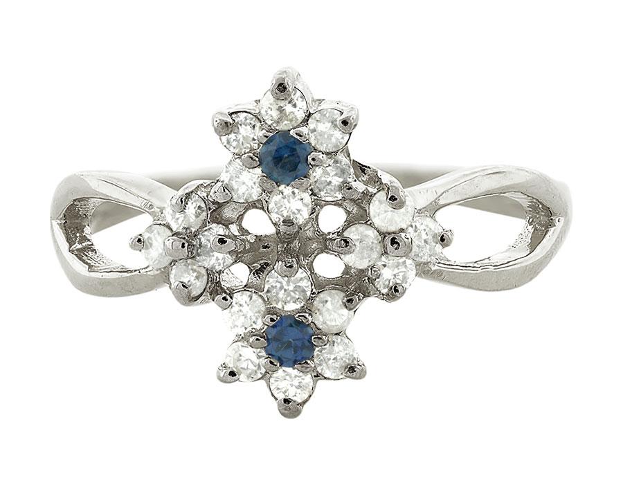 04Ct Round Blue Sapphire Diamond Cluster Flower Wedding Band 10K