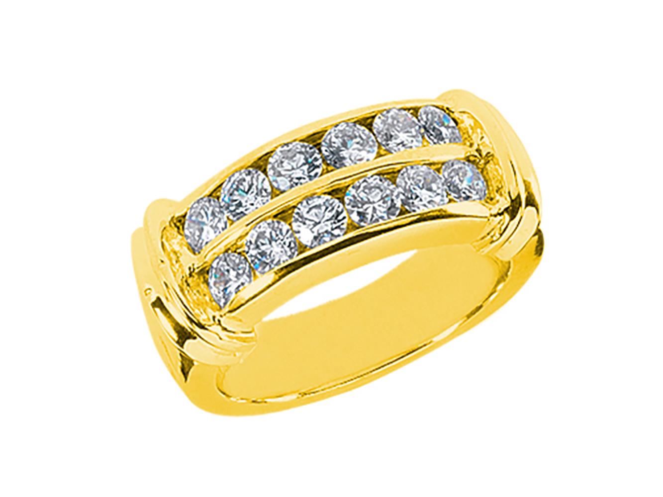 1 20ct Diamond 2row Wedding Band Ring 10k Yellow Gold