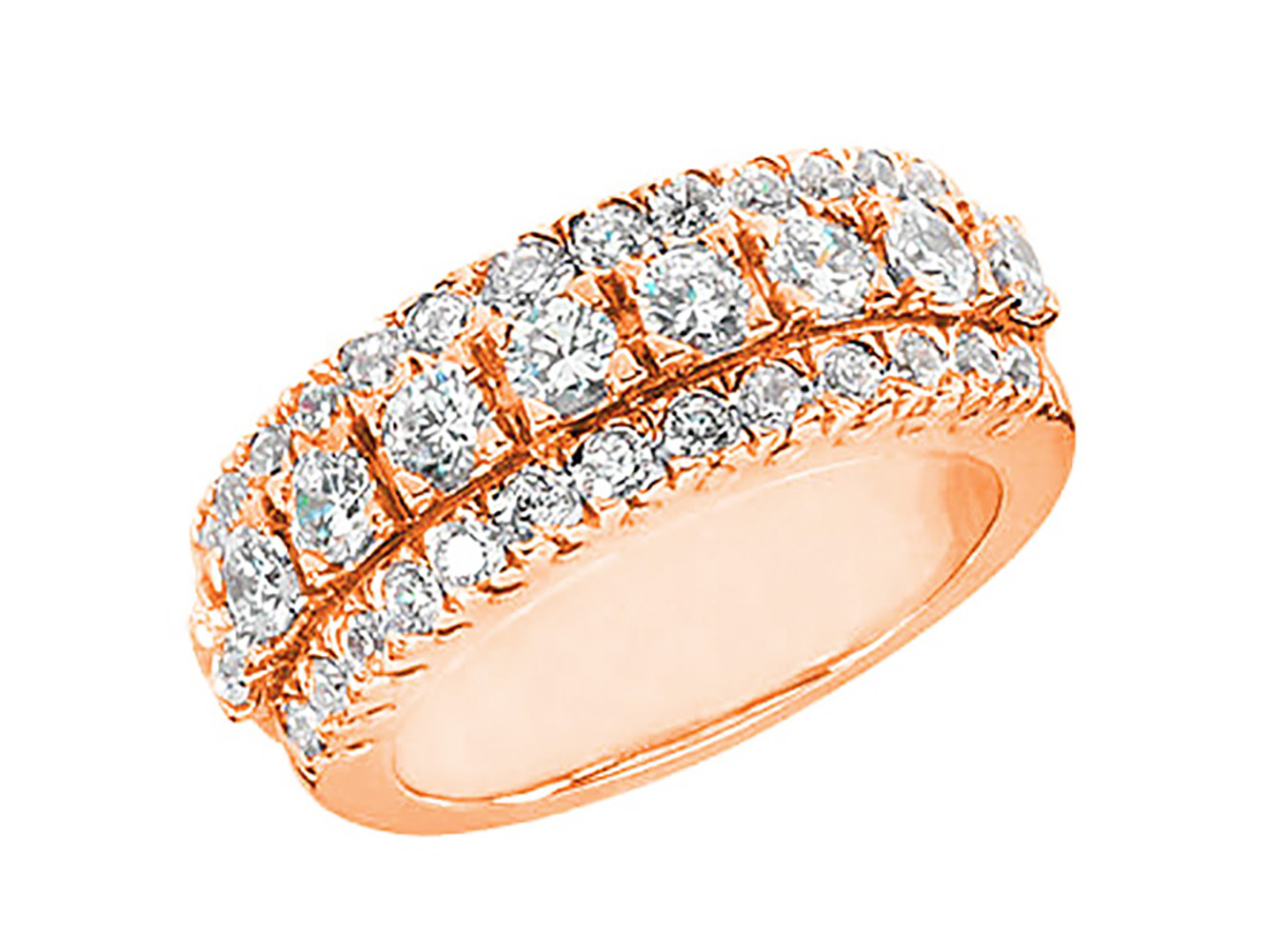 1.55ct Diamond Wedding Band Ring 14kt Rose Gold Round Brilliant Prong Set G SI1