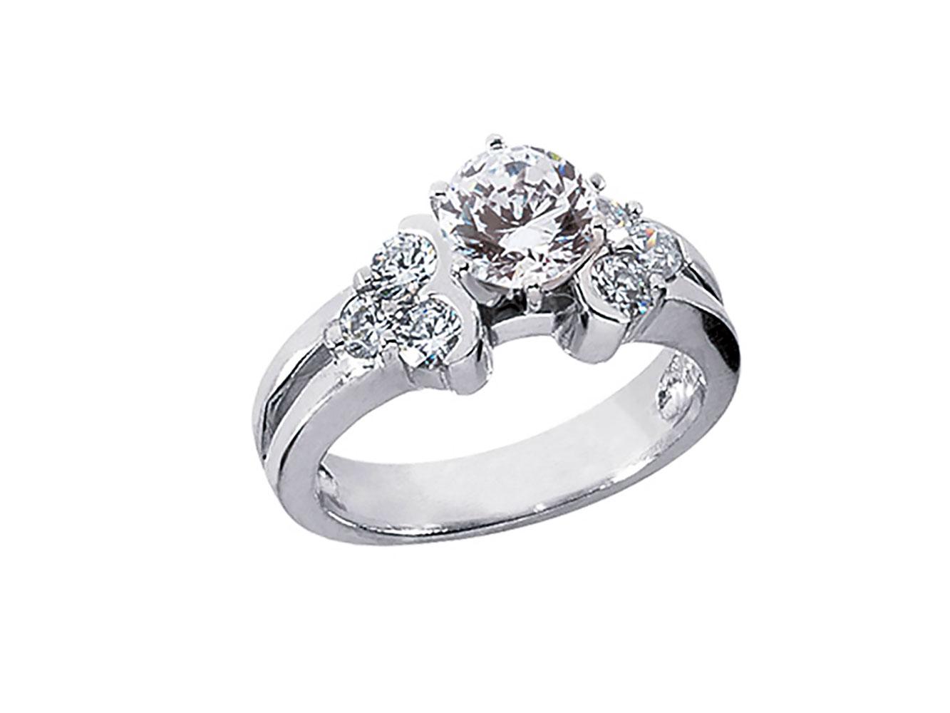 genuine round cut diamond engagement ring cluster. Black Bedroom Furniture Sets. Home Design Ideas
