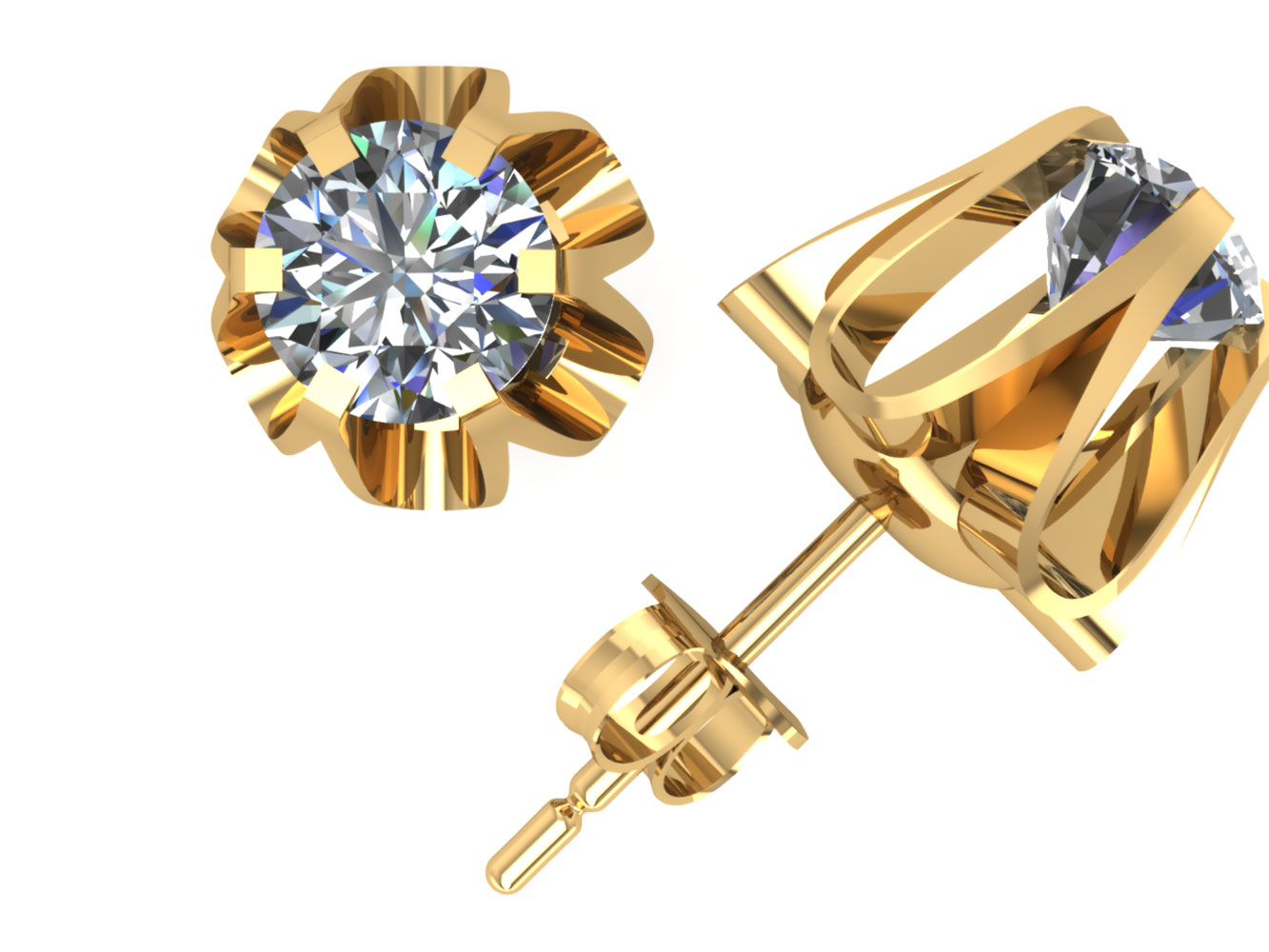 1//4Ct Round Cut Diamond Buttercup Stud Earrings 14k White Gold Prong Set GH I1