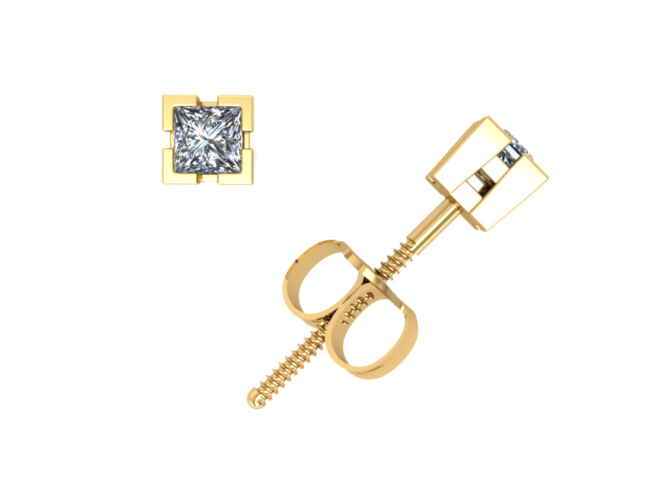 edad580d9 1/4Ct Princess Cut Diamond Basket Solitaire Stud Earrings 14k Gold V-Prong  F VS2