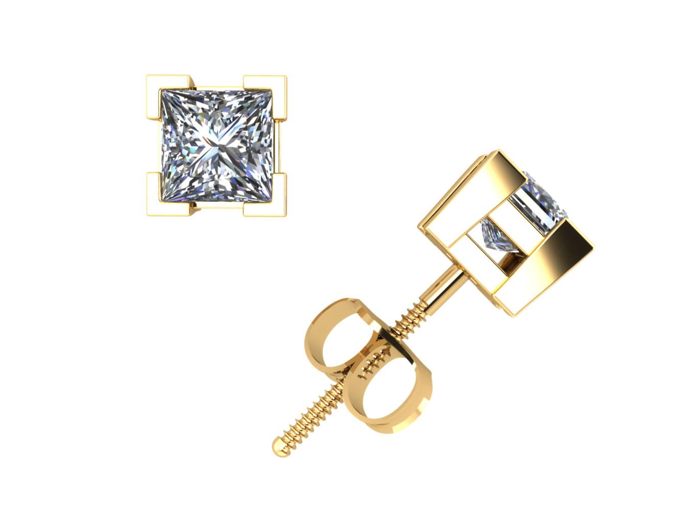 065debff1 Real 0.40Ct Princess Cut Diamond Basket Stud Earrings 14k Gold V-Prong Set  I SI2
