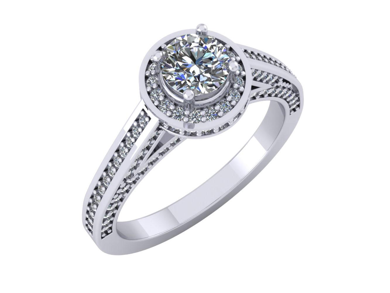 round cut diamond halo bridal engagement ring solid. Black Bedroom Furniture Sets. Home Design Ideas
