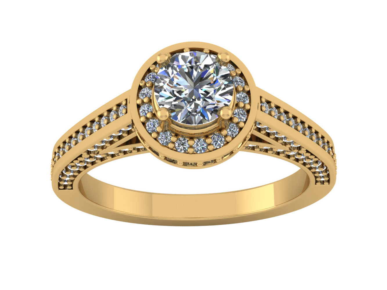 2CARAT Round Brilliant Cut Diamond Women's Halo Engagement ...