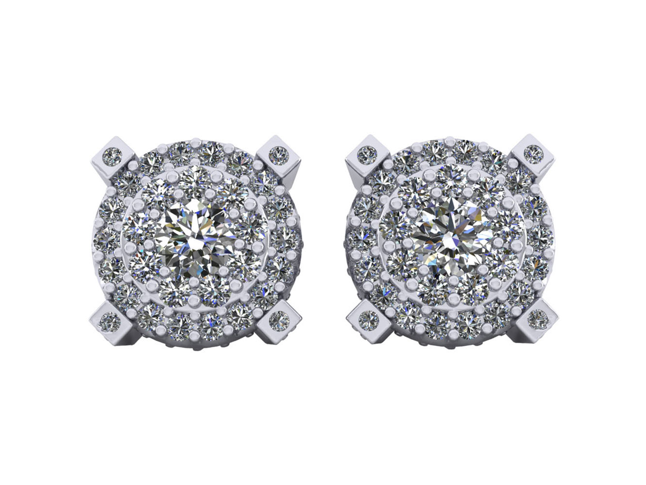 Men Womens 14k White Gold Finish 2.00 Ct Pave Set Diamond Cluster Stud Earrings Jewelry & Watches