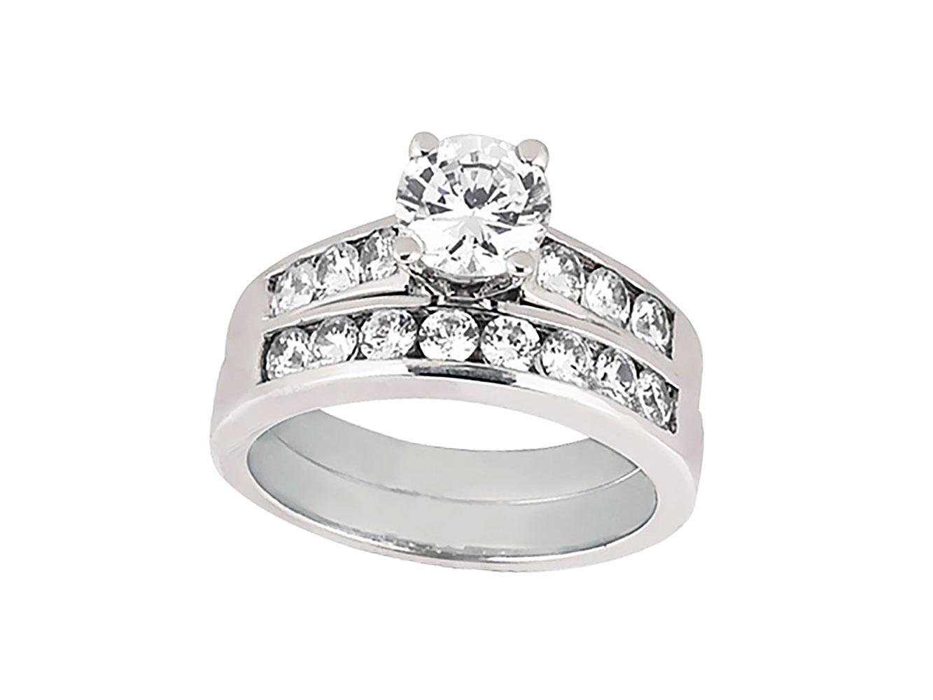 genuine round diamond channel engagement ring set. Black Bedroom Furniture Sets. Home Design Ideas