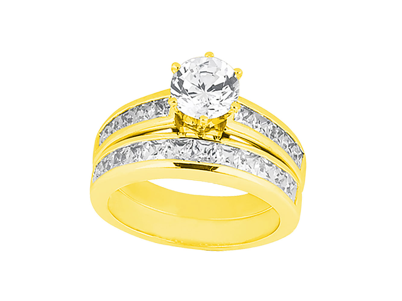 2 25ct Round Princess Cut Diamond Channel Engagement Ring Set 18k Gold