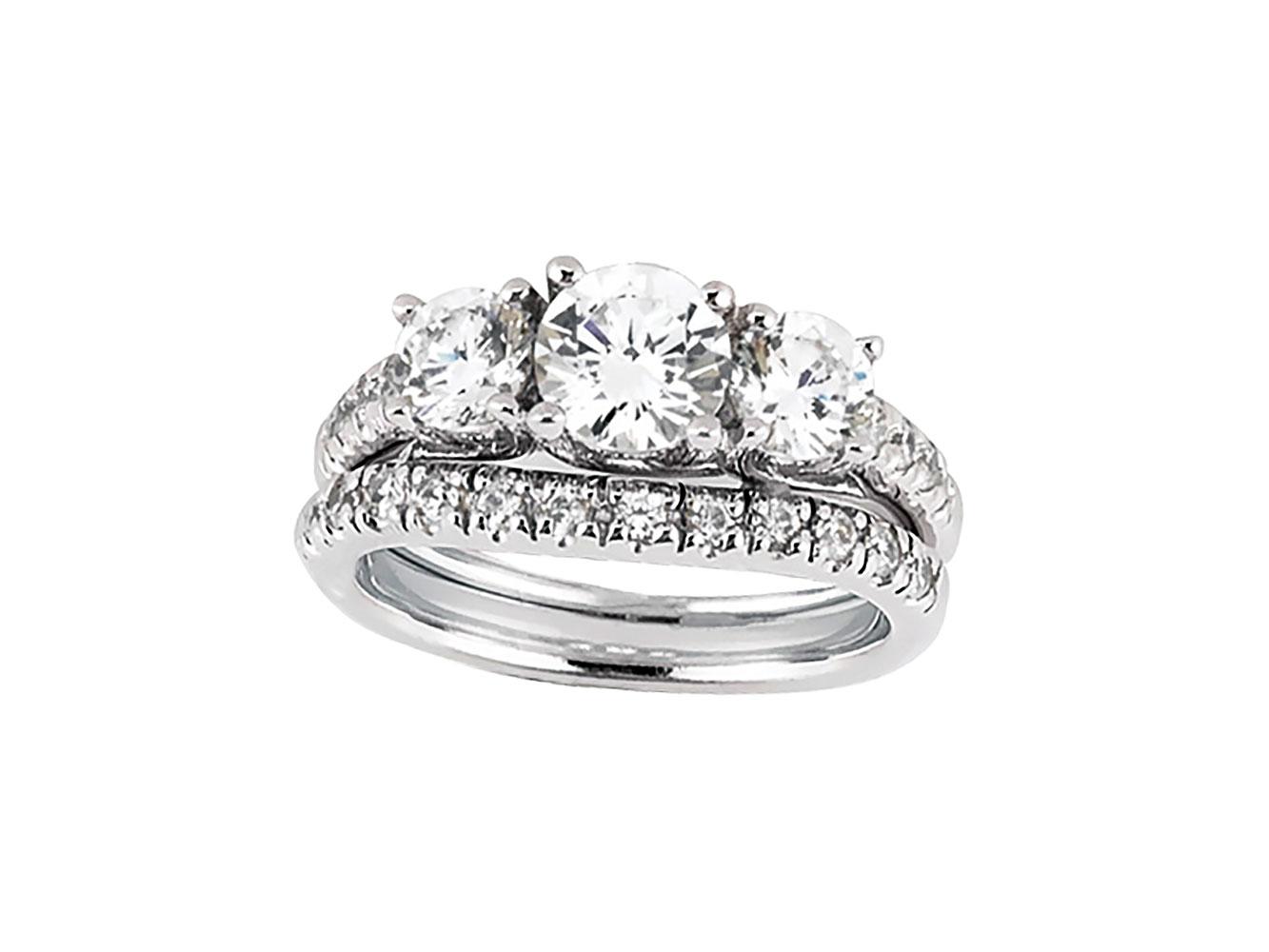 1 50ct Round Cut Diamond Engagement Ring Wedding Band Set Solid 10k