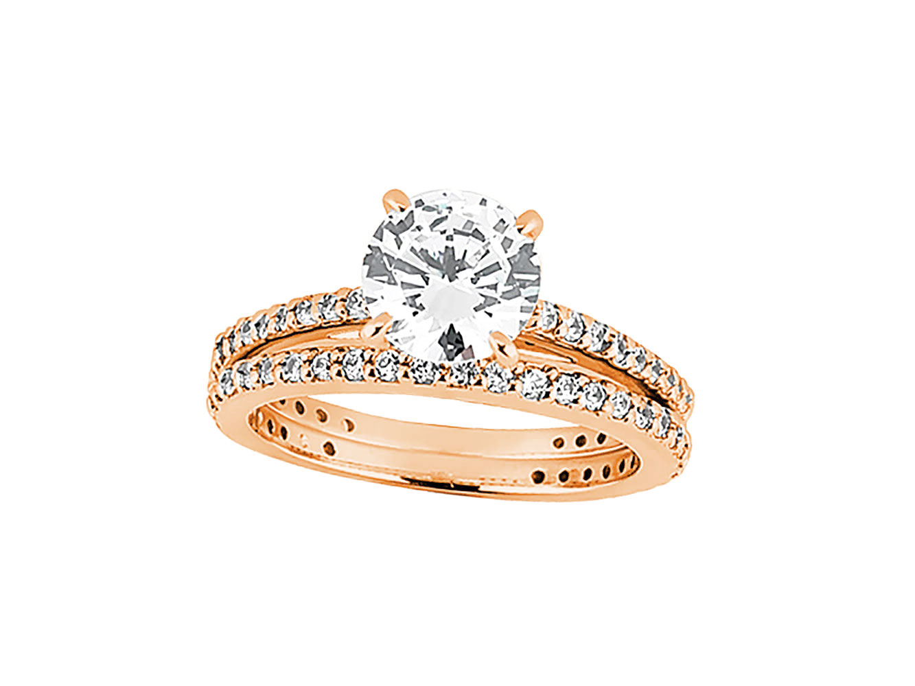 2.00Ct Round Cut Diamond Engagement Ring Wedding Band Set ...