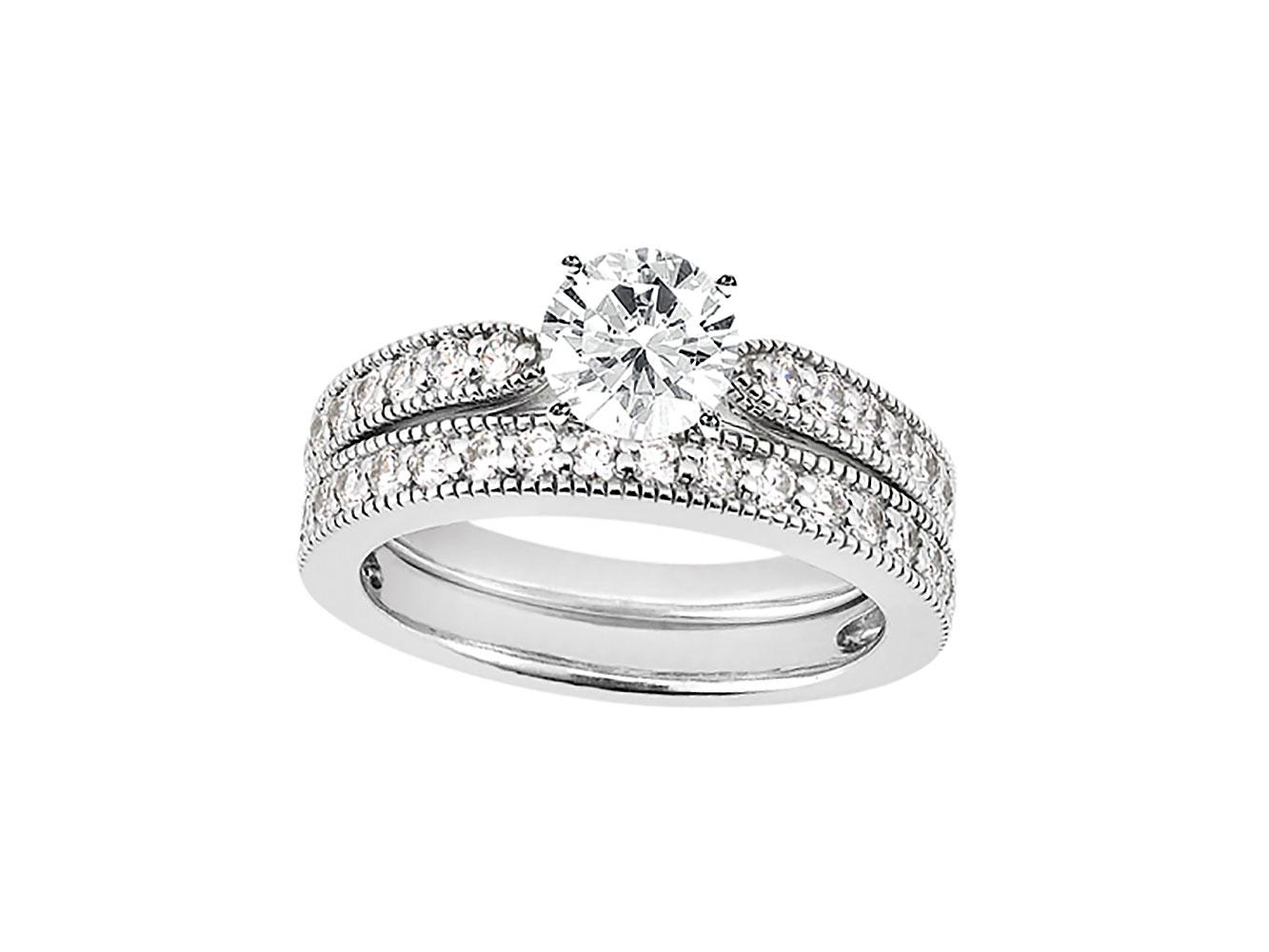 Genuine 1 30ct Round Diamond Engagement Ring Set 925