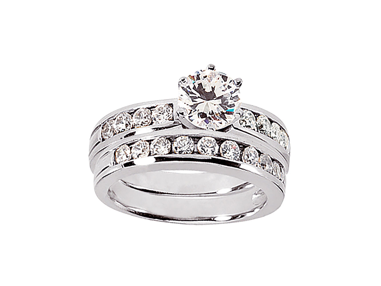 round cut diamond bridal engagement ring set solid. Black Bedroom Furniture Sets. Home Design Ideas