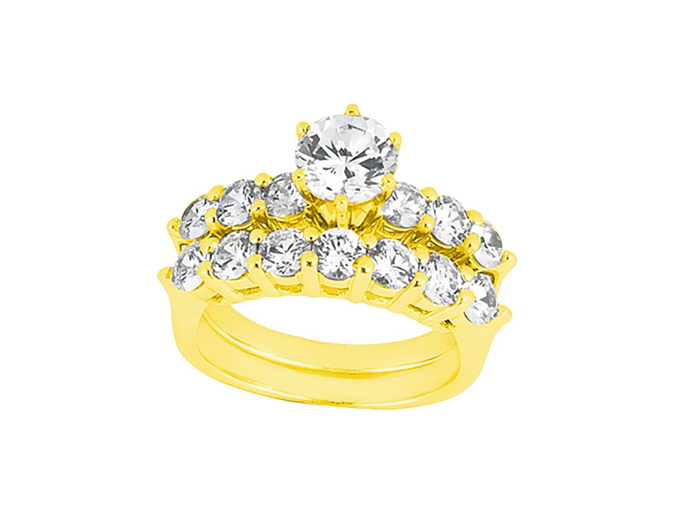 e13f97ccfee3 Genuino 2.25 Ct redondo corte diamante anillo de compromiso conjunto sólido  10 k oro GH I1