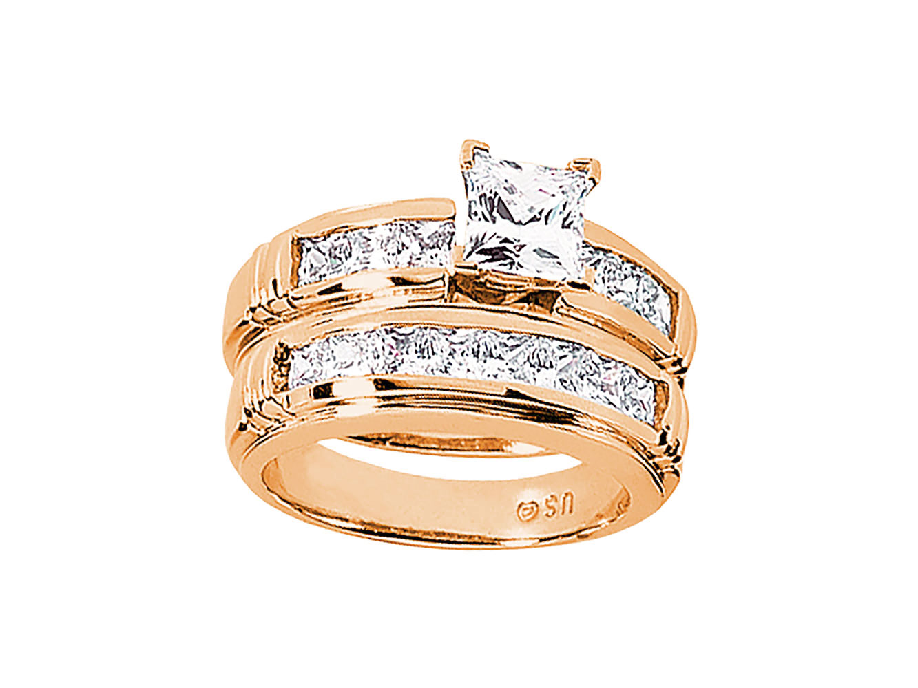 10k gold wedding ring sets 2 25ct princess engagement ring wedding band 1012