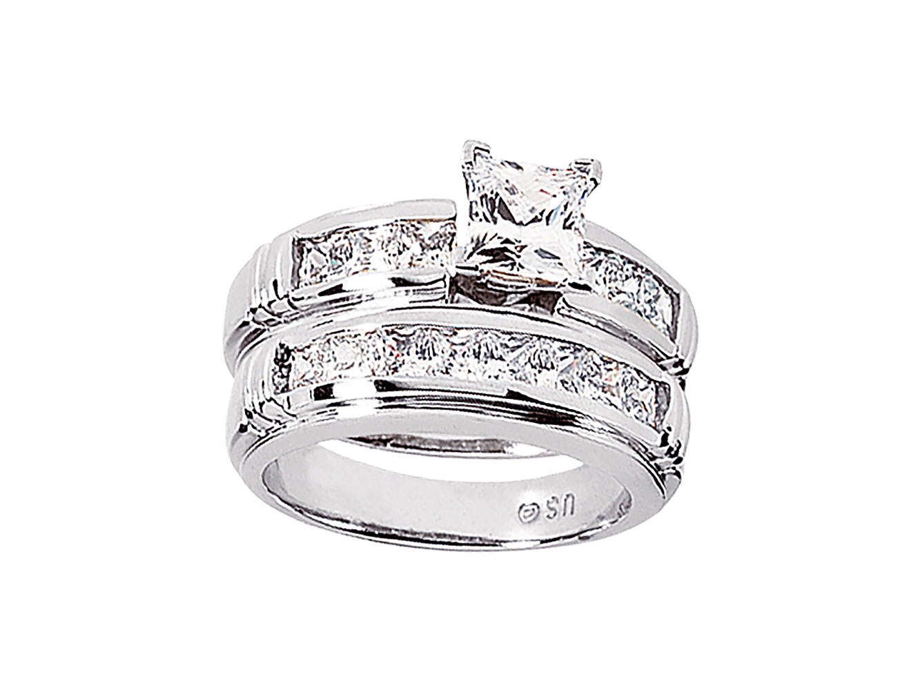 db561199d21b 2.25Ct Redondo Anillo de Compromiso Diamante Princesa Set Sólido 14k ...