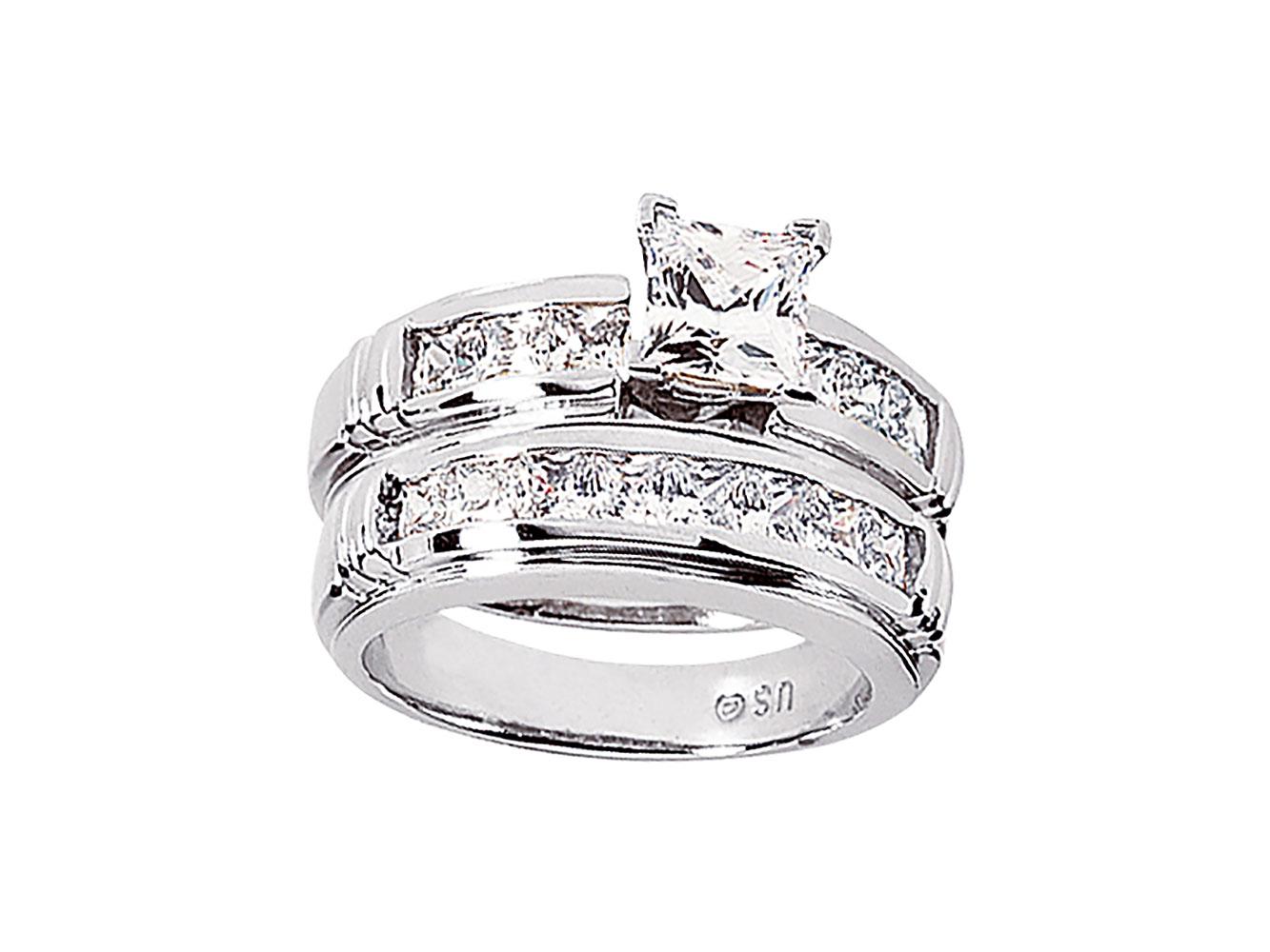 2 25ct princess engagement ring wedding band