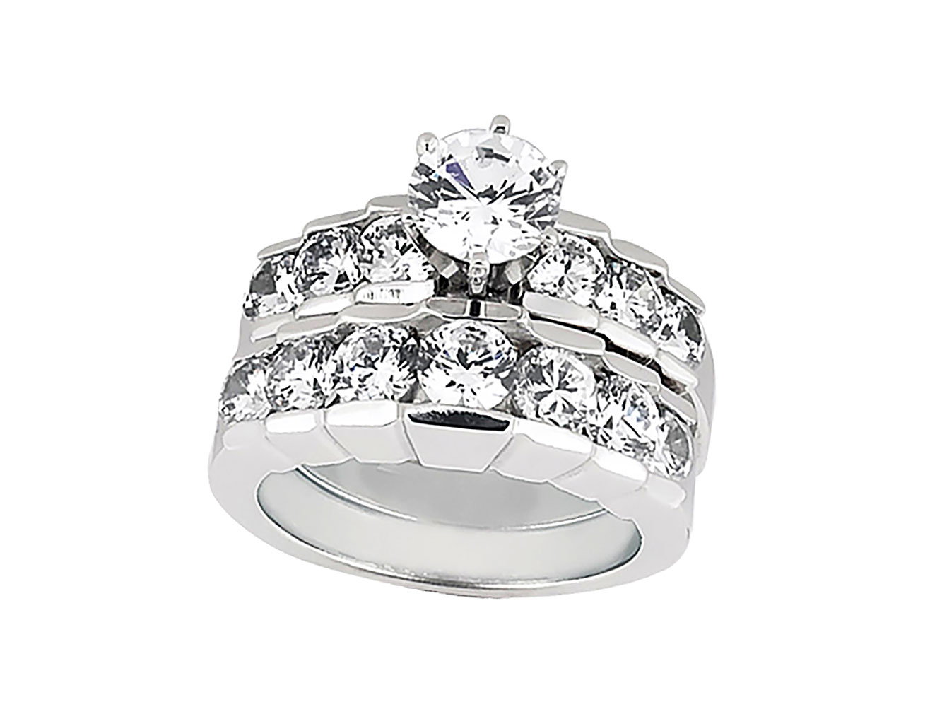 genuine 150ct round diamond engagement ring set 925 sterling silver gh i2 i3 - Sterling Silver Diamond Wedding Rings