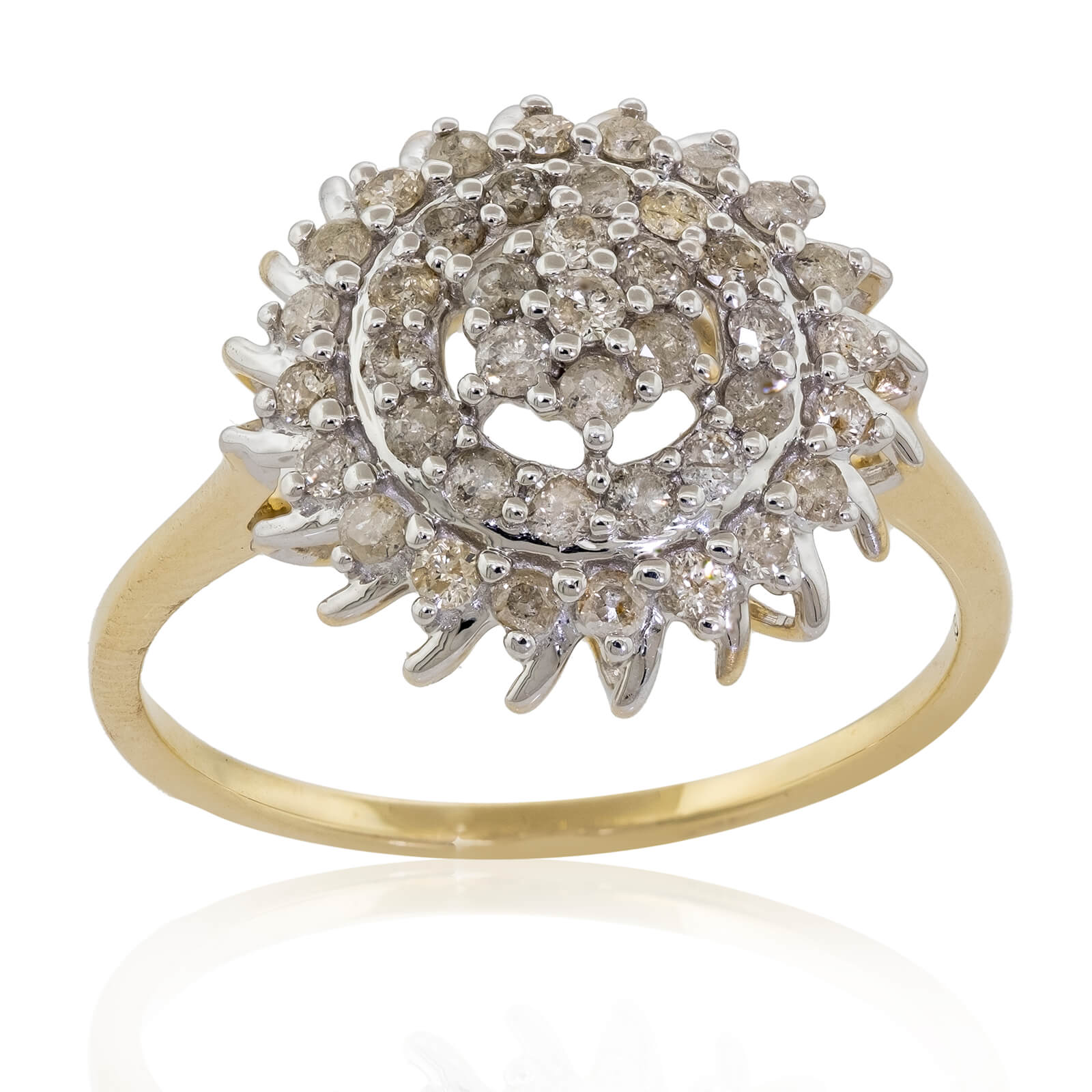 Details about  /10k Yellow Gold Oval White Topaz And Diamond Ring