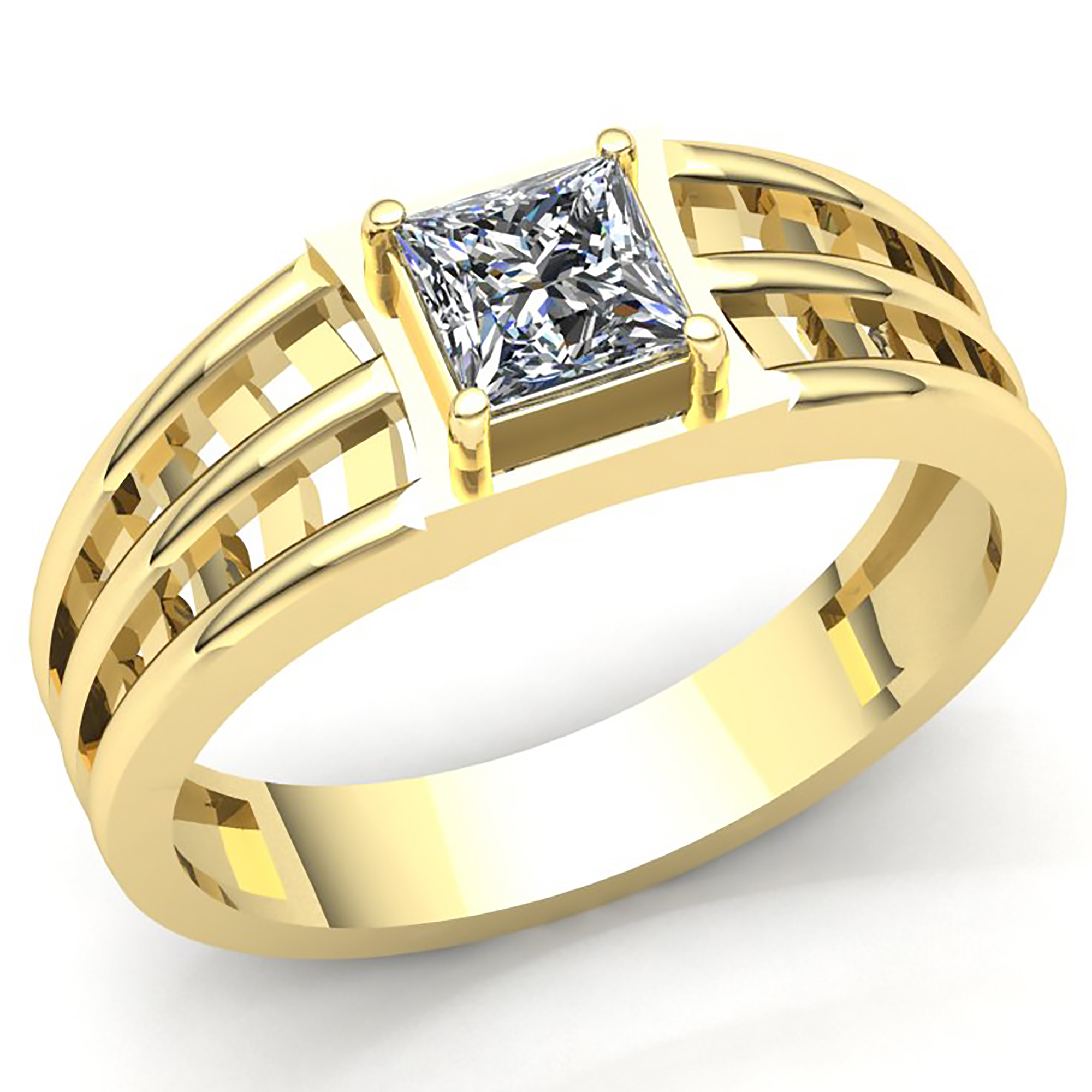 6593cdf552f Details about Genuine 0.33ct Princess Diamond Men s Classic Solitaire Wedding  Band 10K Gold