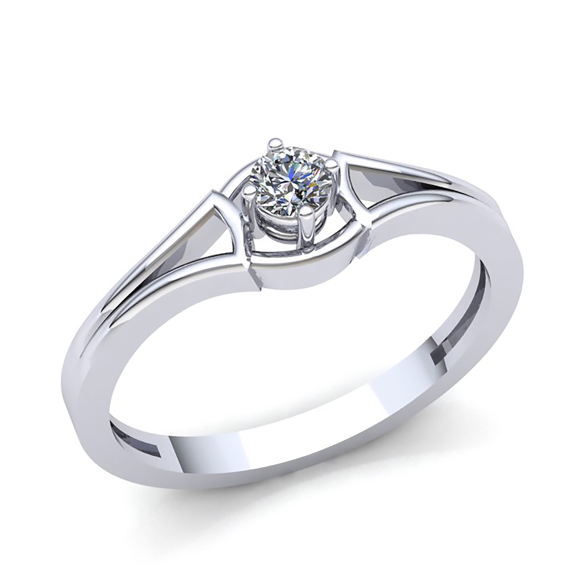Genuine 1 4ct Round Diamond Ladies Bridal Solitaire Engagement Ring 18K gold