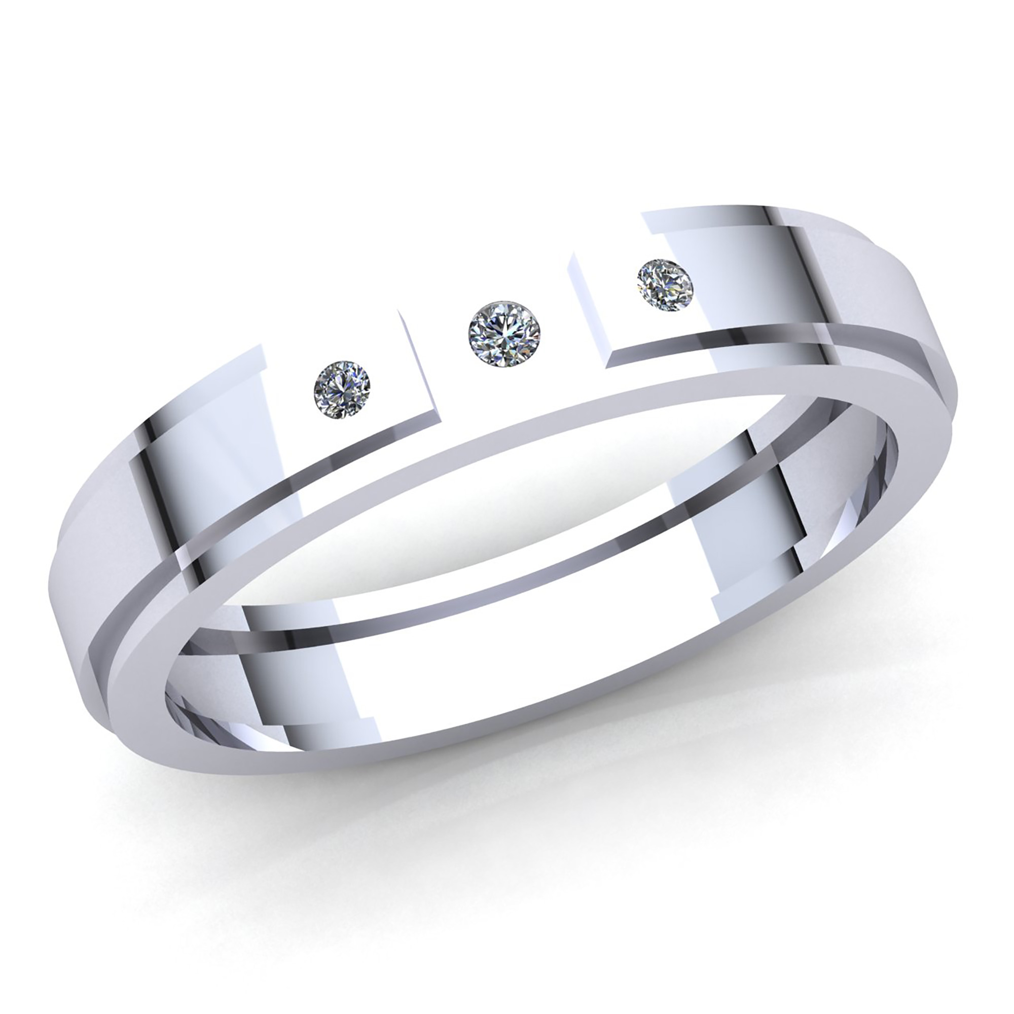 0.15 Ctw Natural Diamond Men/'s Band Ring 14k White Gold Over Sterling Silver