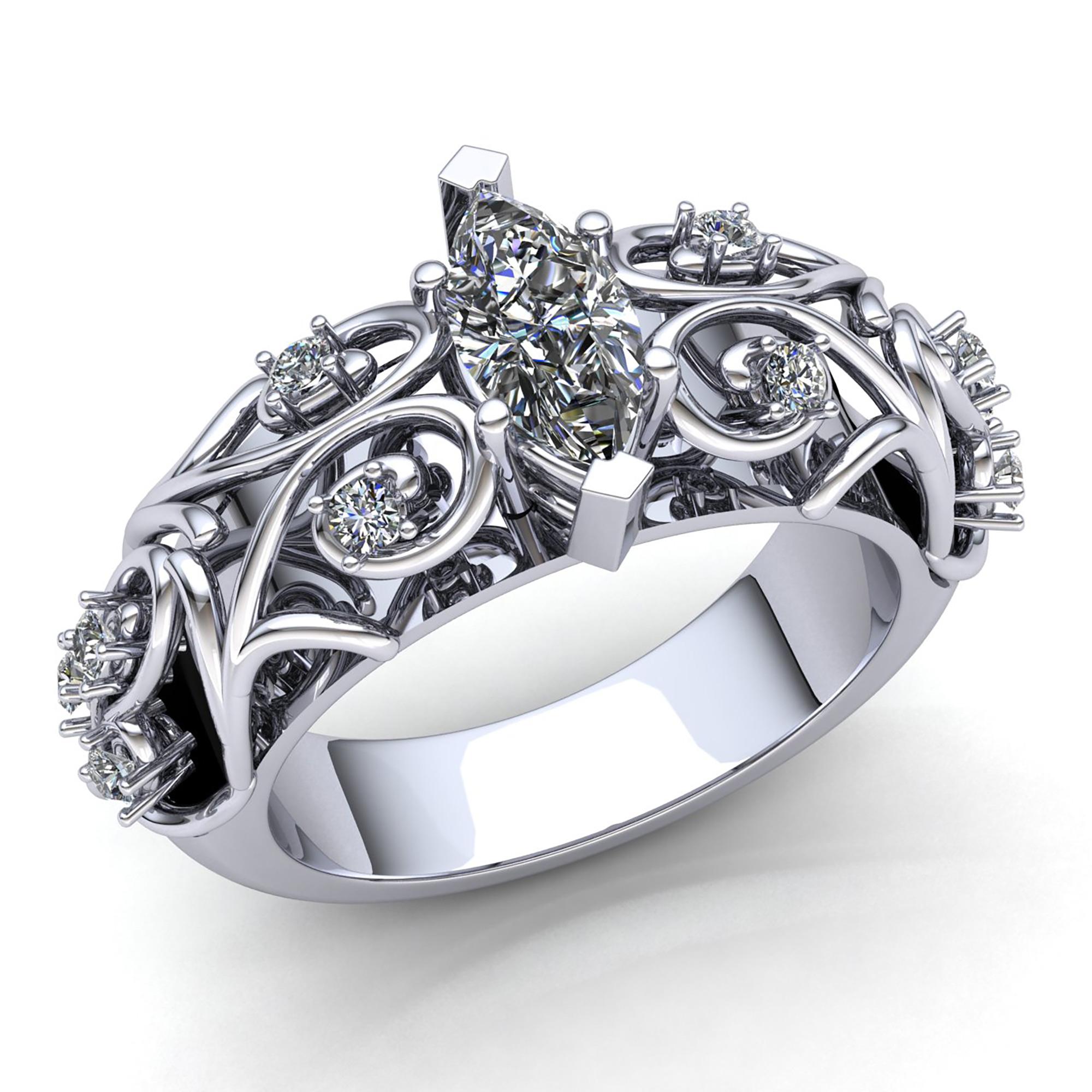 2ctw Princess Brilliant Cut Diamond Ladies Bridal Fancy Engagement Ring 10K gold