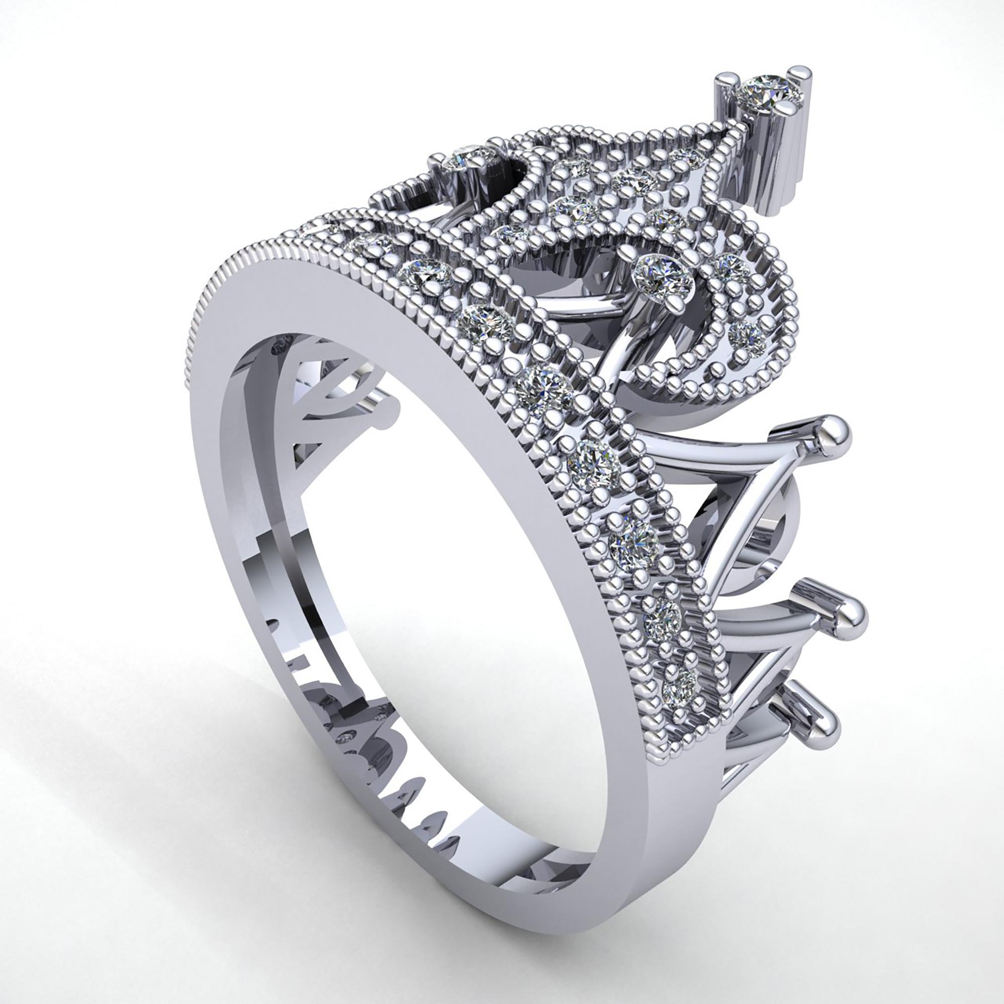 Genuine 0.5ct Round Cut Diamond Women's Bridal Crown ...
