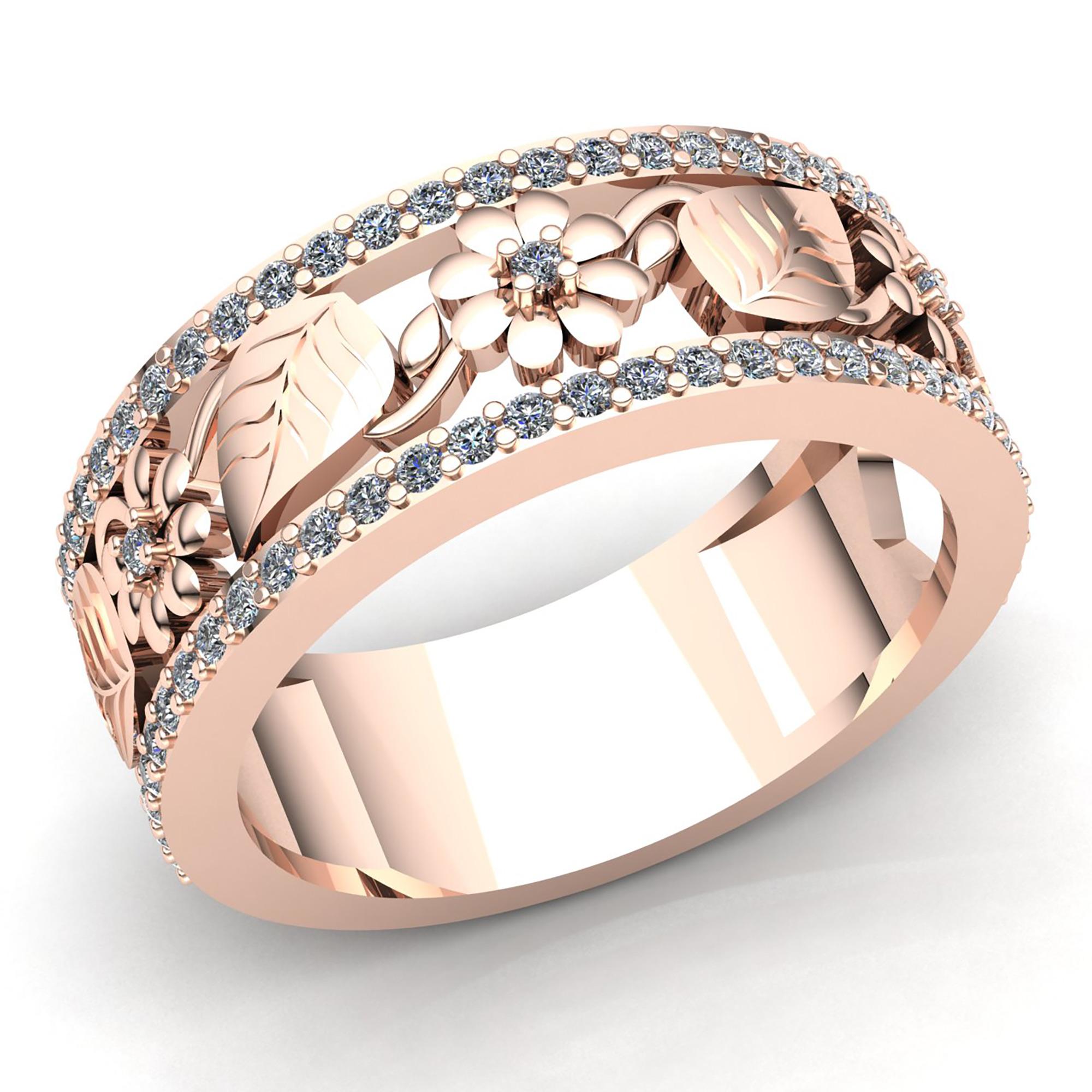 Wedding Flowers And Rings: Natural 5ct Round Cut Diamond Ladies Bridal Flower Wedding