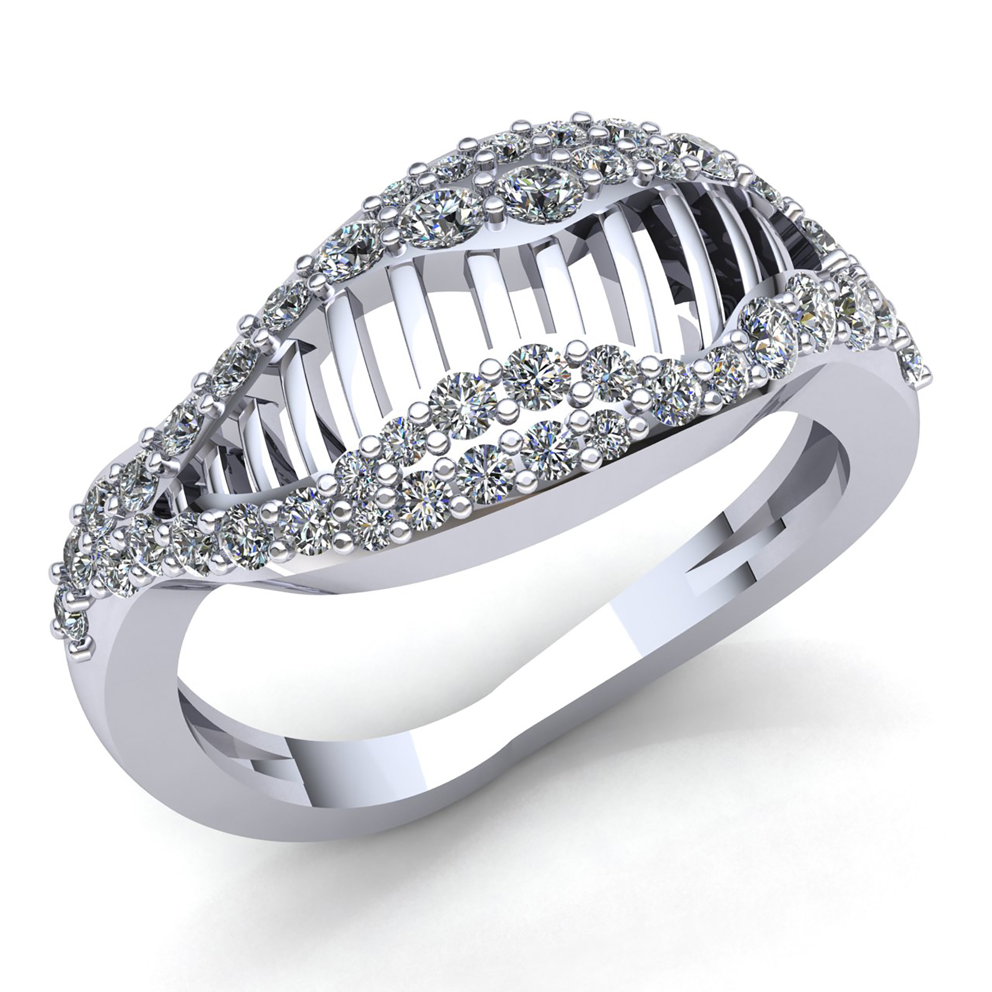 Natural 1ct Round Cut Diamond Ladies Fancy Modern Engagement Ring 10K gold
