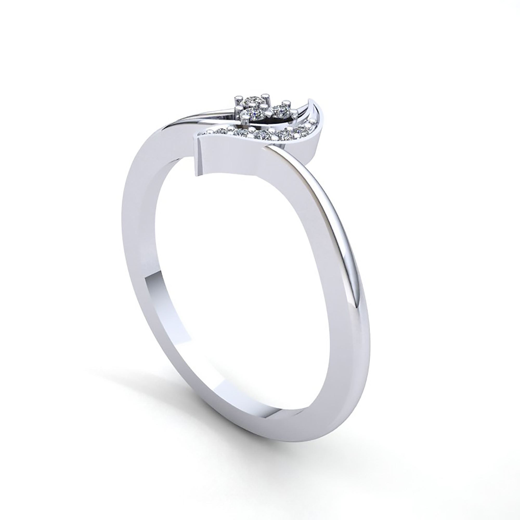 Natural 0.25ct Round Cut Diamond Women\'s 3Stone Fancy Right Hand ...