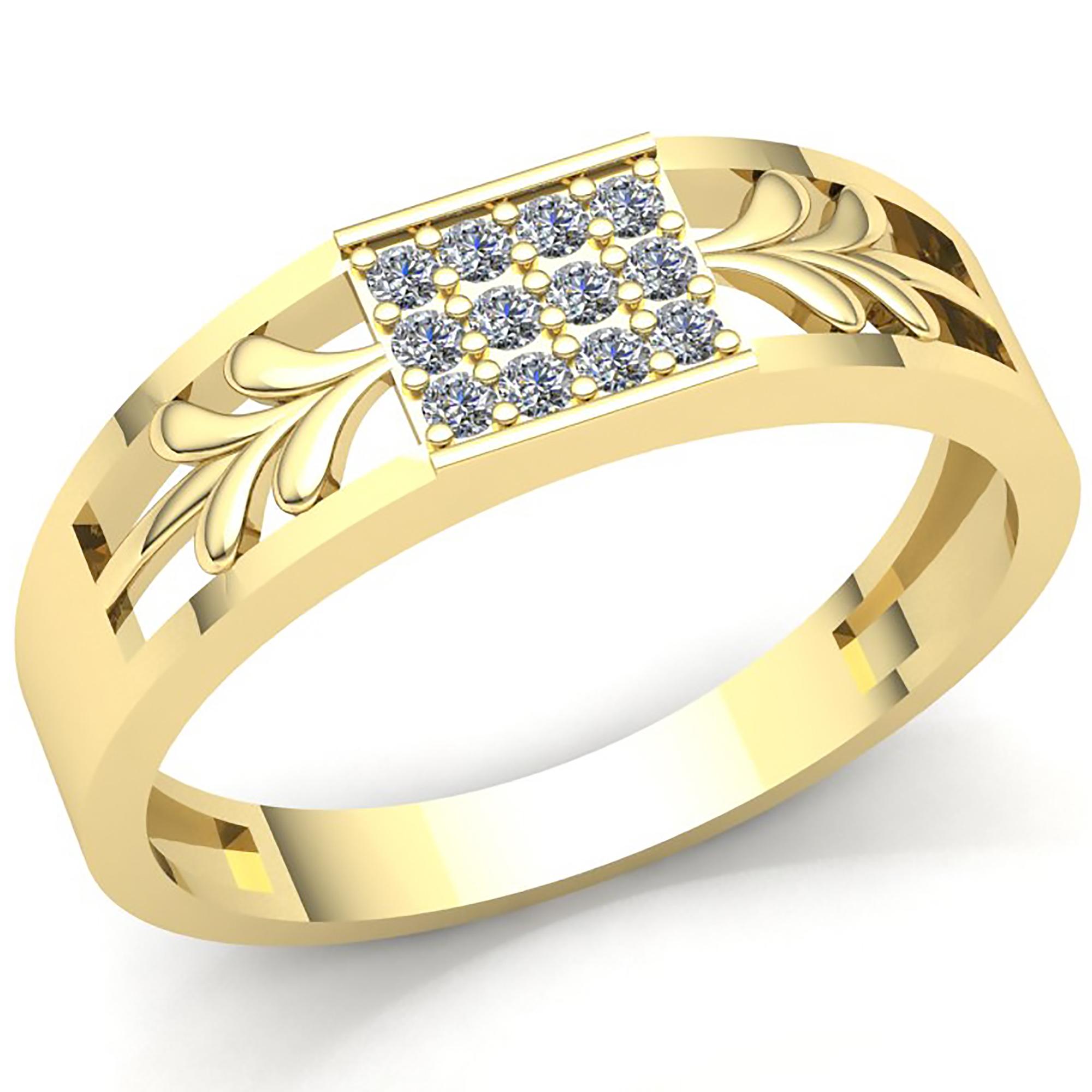 0.1ctw Genuine Round Cut Diamond Ladies Accent Flower Wedding Band 10K Gold