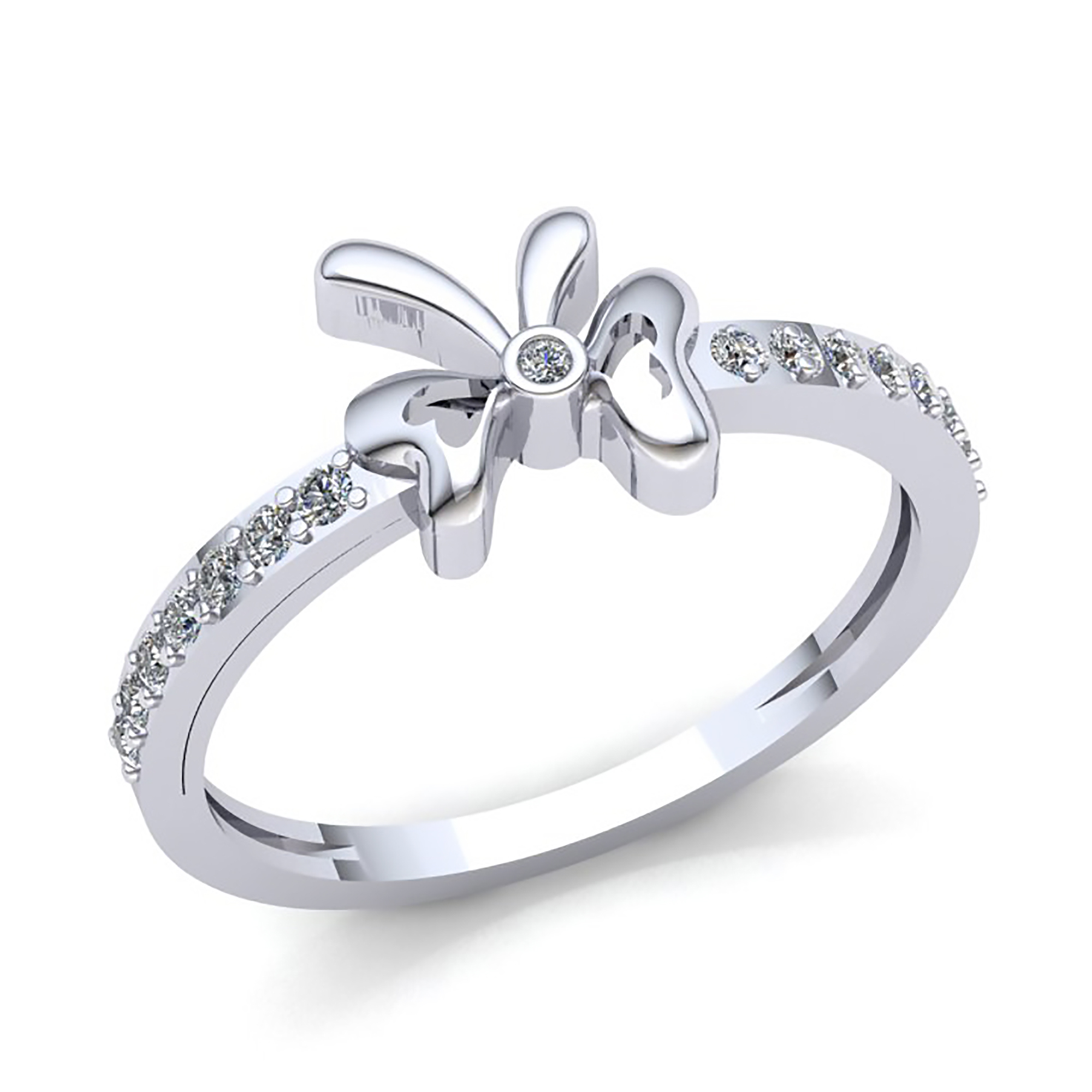 b4f121915 Details about 0.15carat Round Brilliant Cut Diamond Womens Bridal Bow Right  Hand Ring 10K Gold