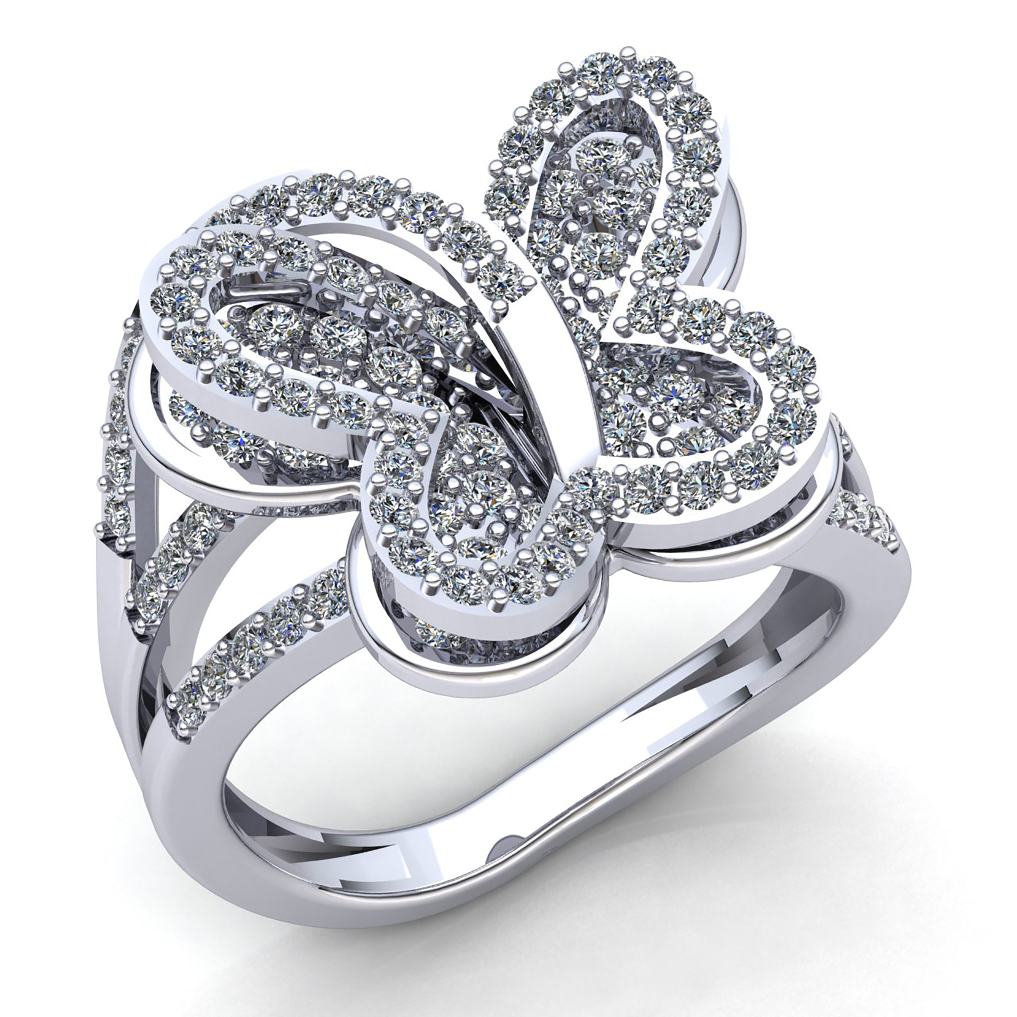 Genuine 1ct Round Cut Diamond La s Butterfly Fancy Engagement