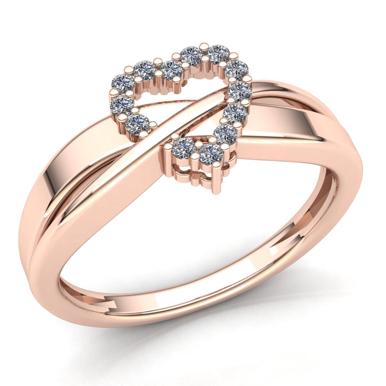 Genuine 0.2ct Round Cut Diamond Ladies Bridal Solitaire Engagement Ring 14K Gold