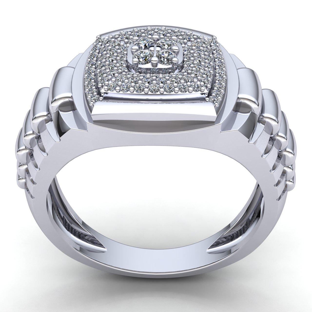 Genuine 0.5ctw Round Cut Diamond Mens Engagement Ring 10K ...