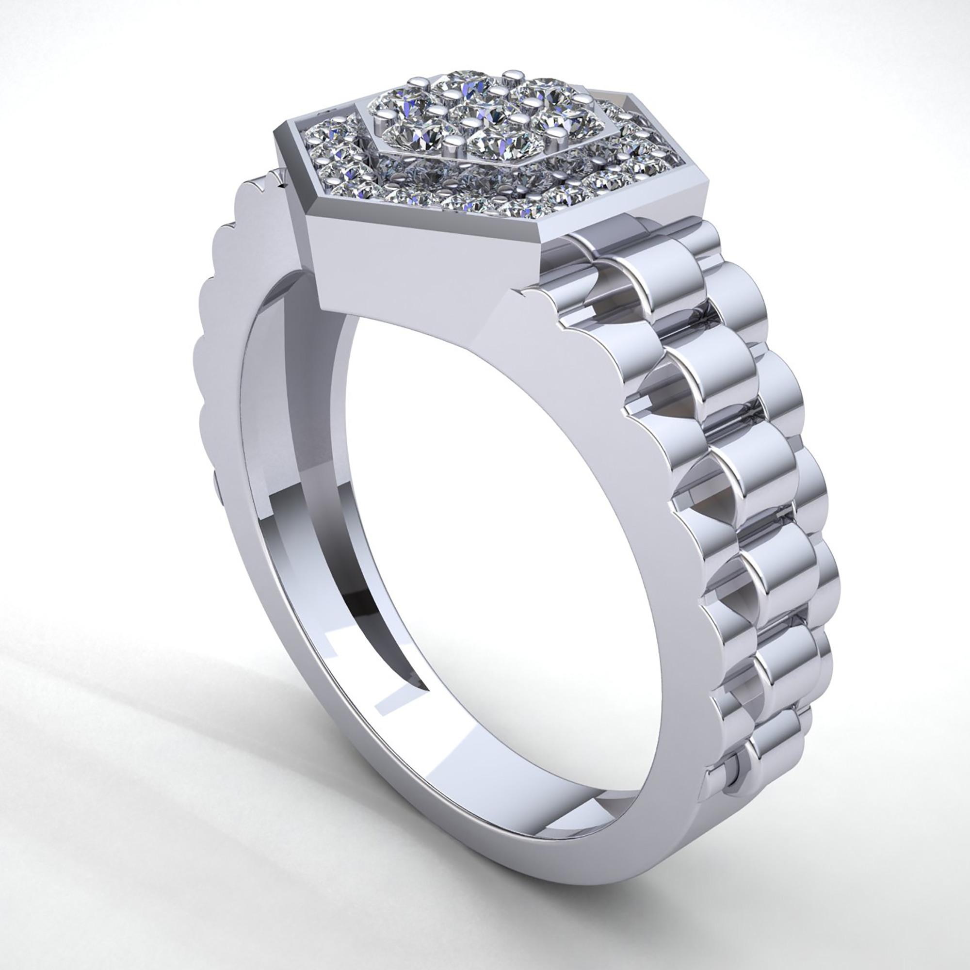Genuine 1ct Round Cut Diamond Mens Haxagon Engagement Ring ...