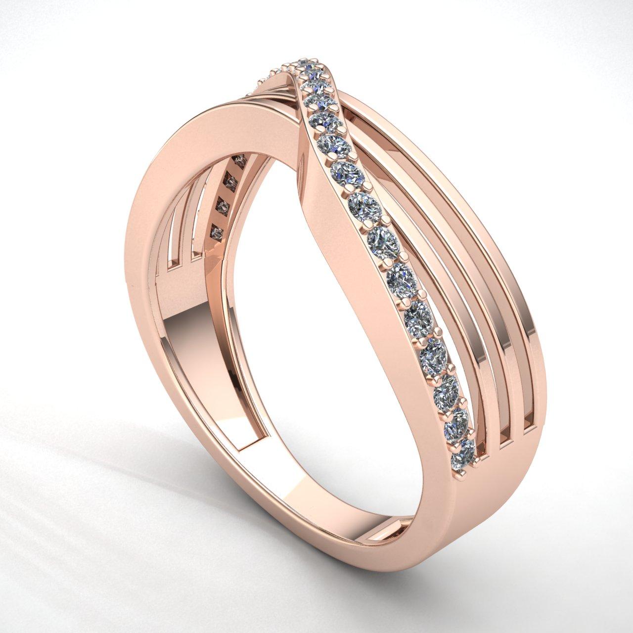 0-75-Ct-Diamante-Talla-Redonda-Mujer-Cruzado-Aniversario-Alianza-18Ct-Oro miniatura 7