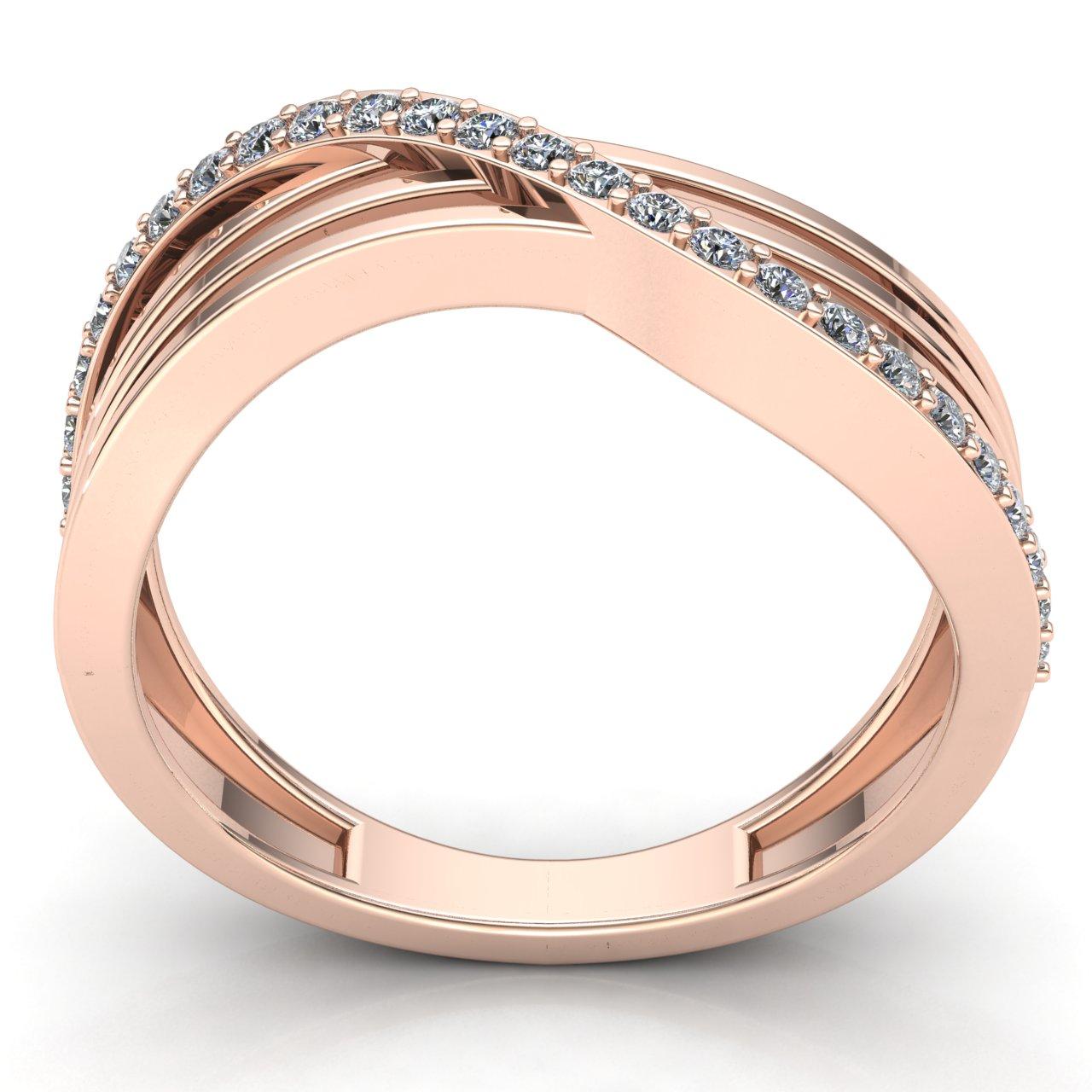 0-75-Ct-Diamante-Talla-Redonda-Mujer-Cruzado-Aniversario-Alianza-18Ct-Oro miniatura 8