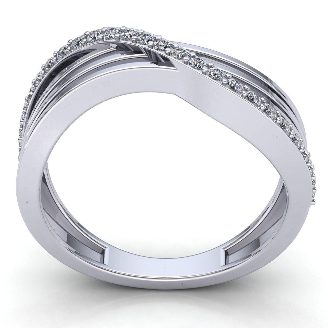0-75-Ct-Diamante-Talla-Redonda-Mujer-Cruzado-Aniversario-Alianza-18Ct-Oro miniatura 11
