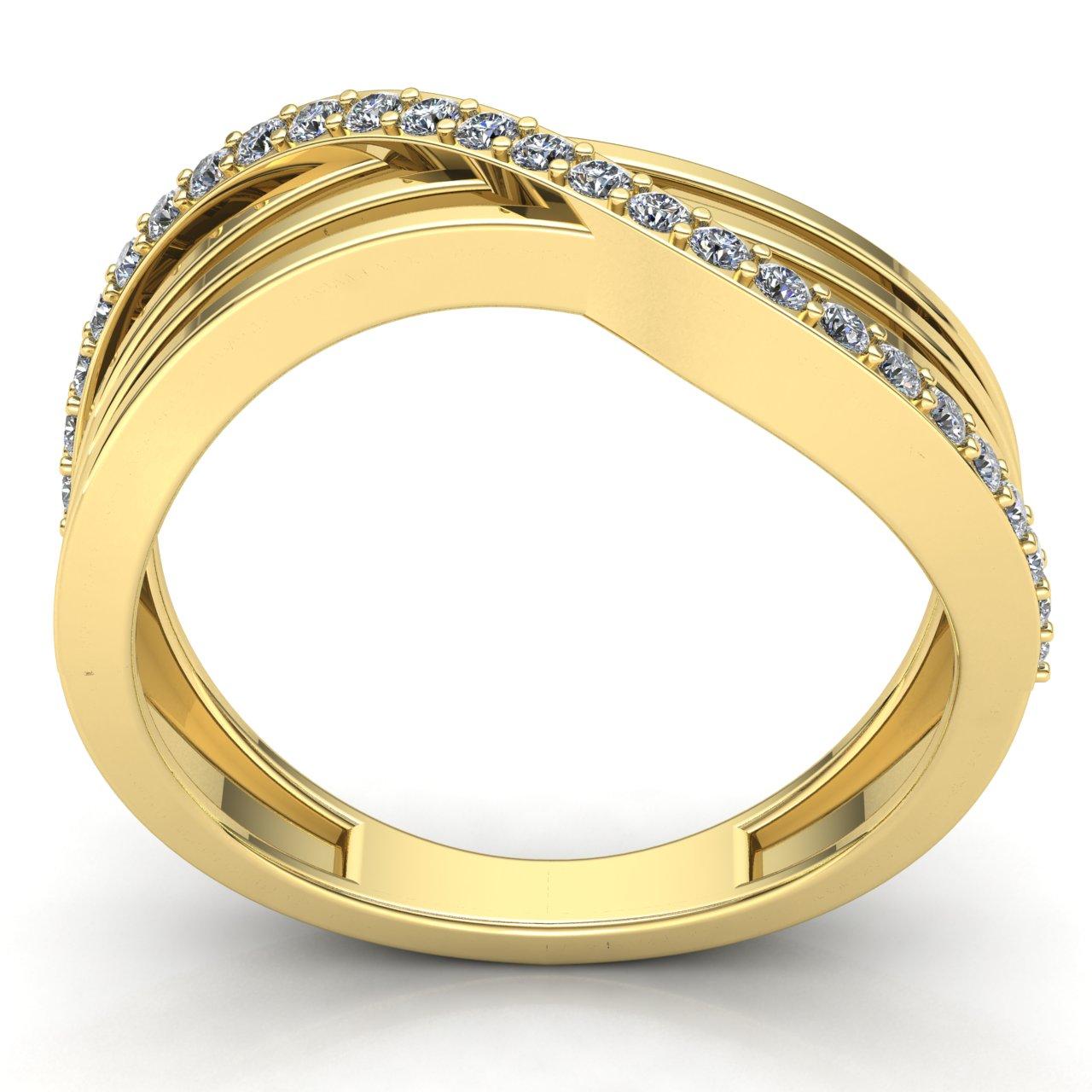 0-75-Ct-Diamante-Talla-Redonda-Mujer-Cruzado-Aniversario-Alianza-18Ct-Oro miniatura 14