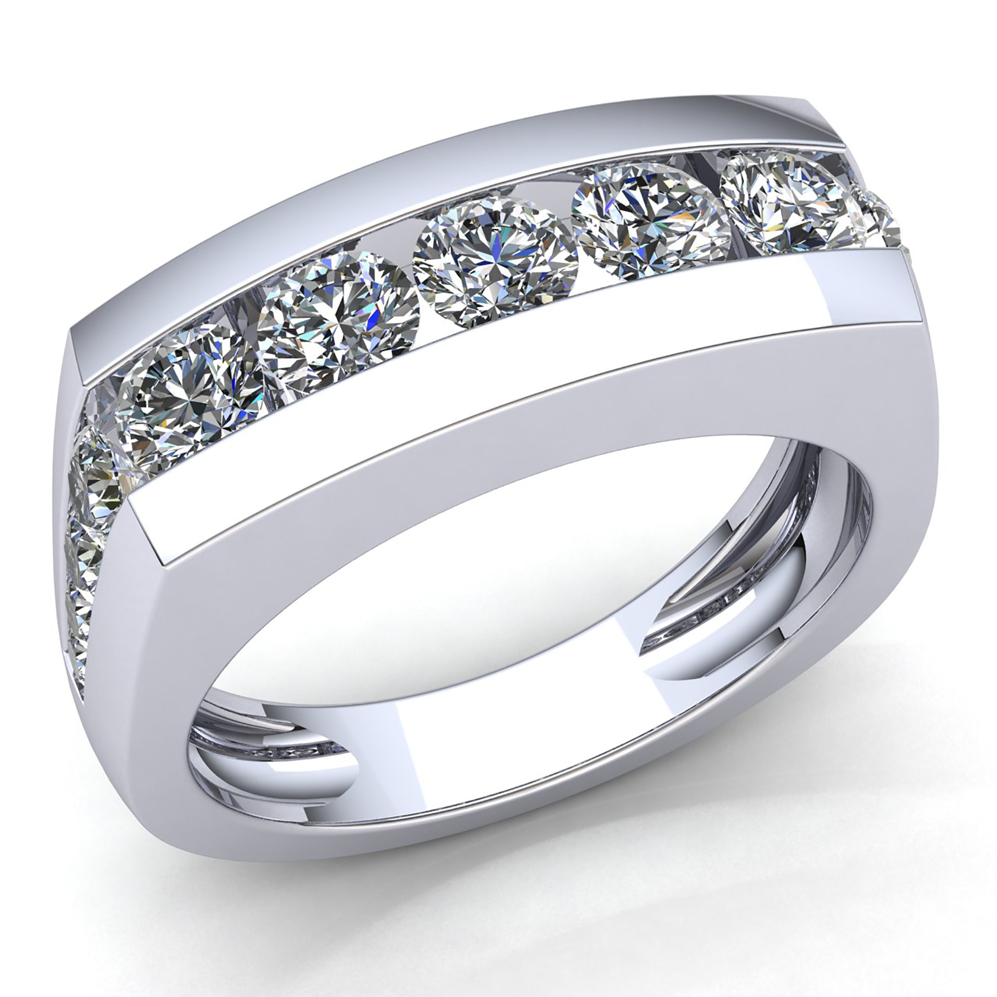 ring set product anniversary davies round bands gold white edwards band channel diamond baguette and
