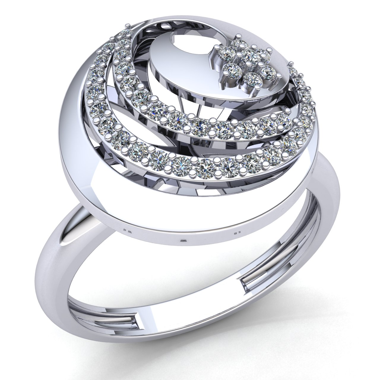 Natural 1.5ct Round Cut Diamond Ladies Cocktail Halo