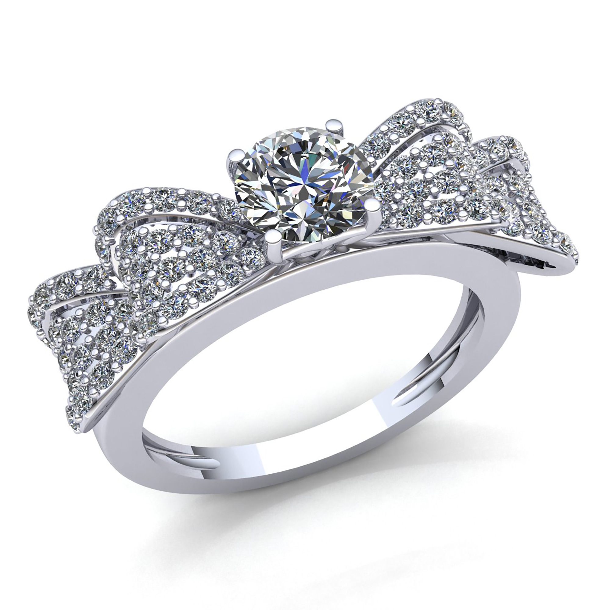 1ct round diamond ladies fancy cluster bow engagement ring. Black Bedroom Furniture Sets. Home Design Ideas